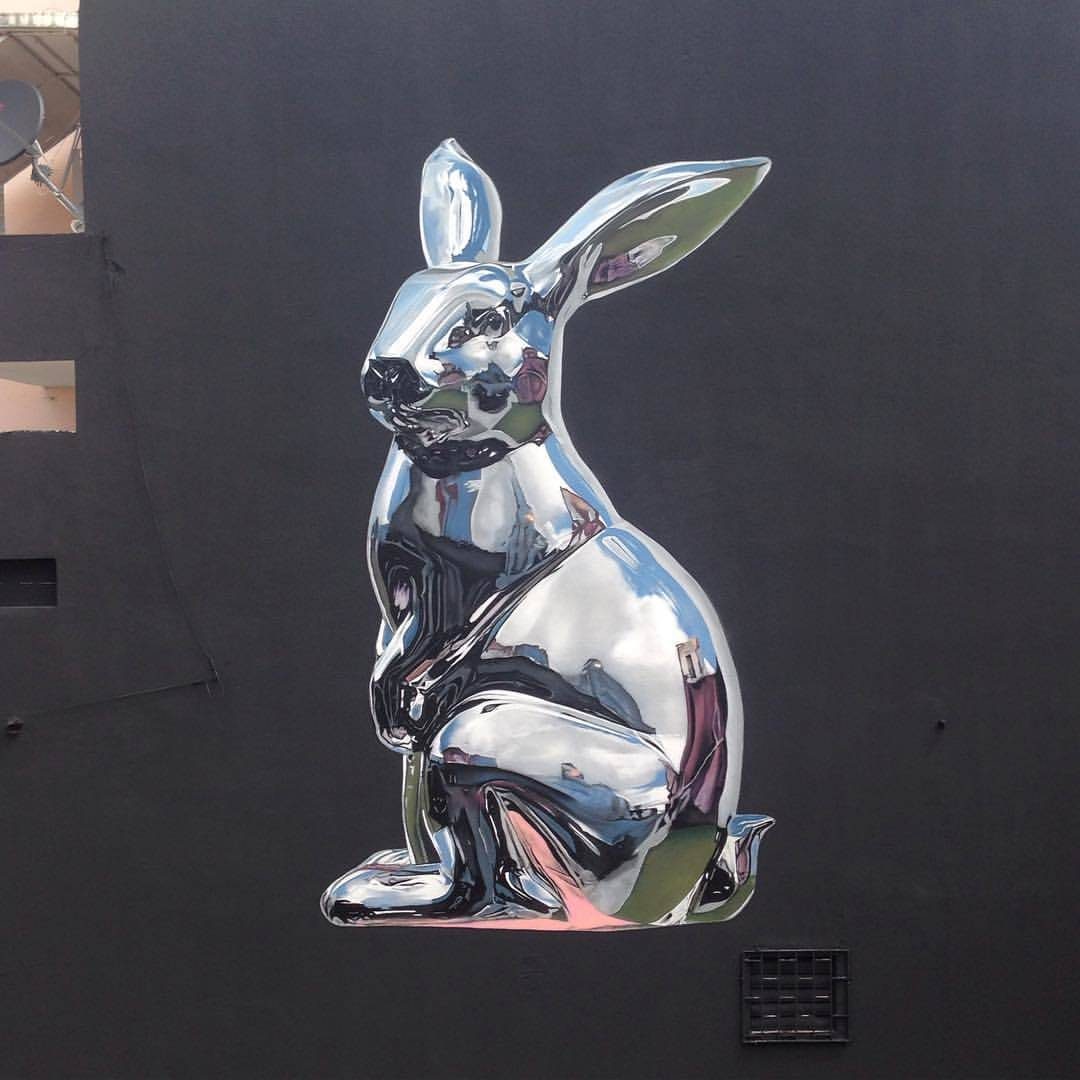Chrome Rabbit Mural